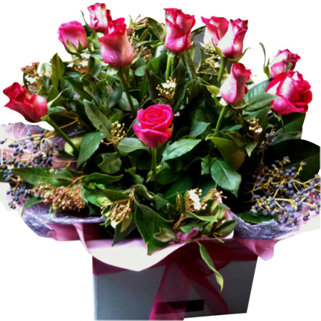 Valentines day flowers delivery - Large Rose and Berry Boxed