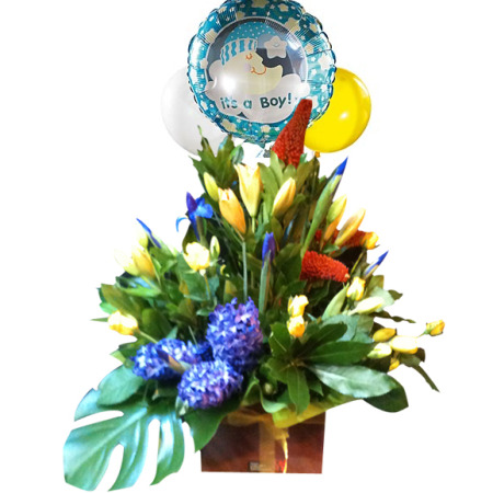 Impressive Boxed arrangement with Balloons-CBD Florist-