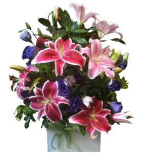 Pink Lily Flower Bouquet - Boxed Arrangement