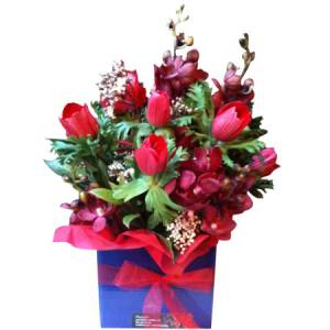 Red and Blue Mini Flower Box Online in Melbourne