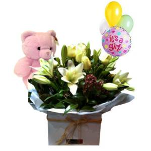 Large Boxed Baby Arrangement with Balloons and Teddy