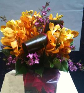 Yellow Vanda Orchid boxed arrangement