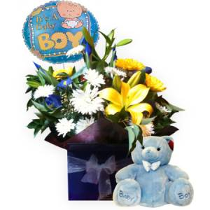 It`s a Boy Boxed Arrangement with Teddy bear and balloon