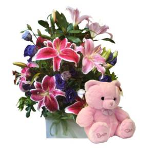 Large Pink Boxed Arrangement with Teddy Bear