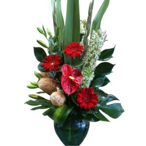 Large Green and Red Modern Arrangement