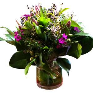 Clear Green Vase Arrangement