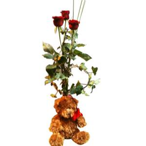 Rose and Teddy Bear Gift in vase