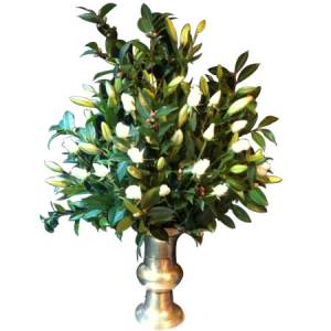 Stunning Rose and Green Floral Tribute with Vase-CBD Florist